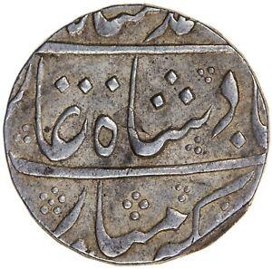 India Mughal Muhammad Shah 1719-1748 Rupee Muhammadabad Banaras RY28 KM-436.15