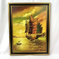 Signed Original ROBERT L Oil Painting Canvas Art Boat Ship Clipper Sunset 20.5""