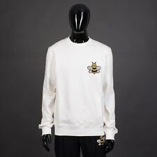 DIOR x KAWS 1050$ Sweatshirt In White Cotton With Jeweled Bee Embroidery
