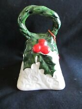 "Vtg Xmas Lefton Bell Ornament-Holly & Berry-Missing Clapper-3 1/2"" Tall"
