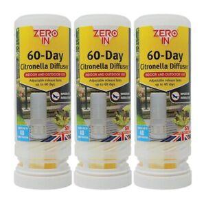 3x Zero In 60 Day Citronella Diffuser Portable Insect Control Fly Mosquito Repel