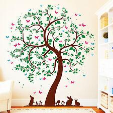 10403-170 Wandtattoo Loft Baum mit Hasen 4farbig Wandaufkleber Hase Bäume Wald