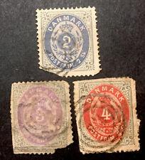 Denmark 1870 3x Vfu stamps 2,3,&4sk Lh