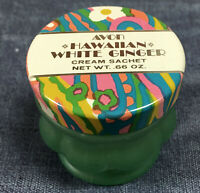Vintage Avon Cream Sachet Hawaiian White Ginger Frosted Green Glass Jar Empty