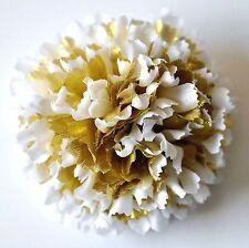 "3"" Pure White & Gold Lamé Carnation Silk Flower Hair Clip Holiday Wedding"
