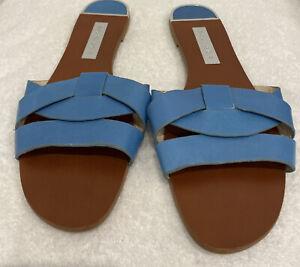 Zara Basics women's designer flat slide pale blue plait sandals shoes 41/ 9.5