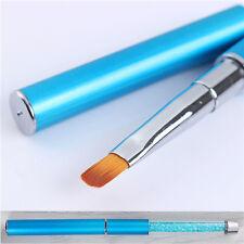 UV Gel Pen Drawing Brush Round Blue Rhinestone Handle Manicure Nail Art DIY Tool