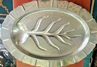 Vintage Silver Plated Fish Meat Serving Tray Oval Footed