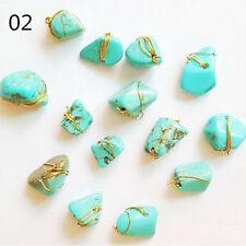 2Pcs/set Colorful 3D Nail Art Decoration Natural Stone with Copper Line Manicure