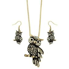 "Owl Necklace & Earrings Set - Sparkling Crystal - Fish Hook - 18"" Chain"