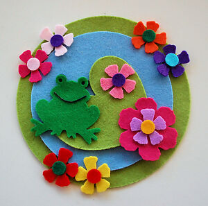 FELT FROG LILY PAD Die Cuts Flowers Pond Embellishments Spring Easter Toad Green