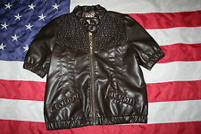 Daytrip Brown Pleather Jacket Size Large: coat/dressy/motorcycle/military #3934