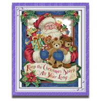 Counted Cross Stitch Kit Happy Christmas Santa Claus Pattern Printed 14CT 11CT