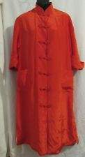 Vtg Bright Red Best Quality Oriental Style Robe Dress Lined Medium Made in Japan