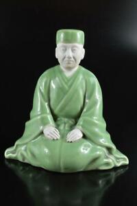 #5765: Japanese Kiyomizu-ware Celadon Person sculpture ORNAMENTS object art work