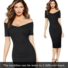 Womens Sexy V-neck Off Shoulder Casual Party Club Evening Bodycon Sheath Dress
