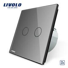 Livolo New EU Type 110-250V 2 Gang 1 Way Grey Wall Light Remote Touch Switch