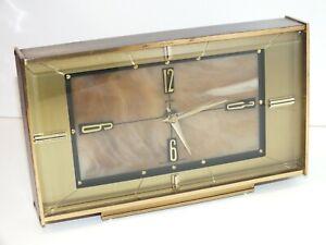 Vintage Mid-Century Metamec Clock Vintage Mantle Onyx Brass - Quartz Battery