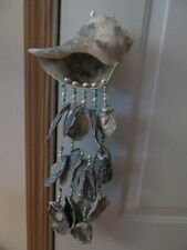 New listing Wall Art/Windchime,Conch Shell,Oyster shells,Colored beads,Handmade,18 1/2 in.