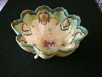 "Antique Nippon 3 Footed Bowl Hand Painted PORCELAIN Scalloped Edge 5 1/2"" Wide"