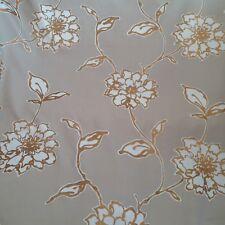 12 Metres Beige Cotton Sateen Metallic Gold Floral Design Curtain Fabric