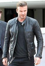 David Beckham Motor Biker Real Sheepskin Leather Motorcycle Men's Black Jacket