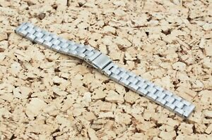 Brushed Stainless Steel Solid Link Watch Strap 14mm Straight Ends