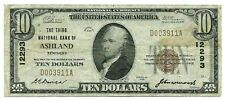 1929 $10 THE THIRD NATIONAL BANK OF ASHLAND KY - CH #12293 - VG+