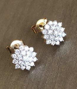 9ct Yellow Gold Diamond Earrings 0.50ct Flower Cluster Studs Half Carat 1/2ct