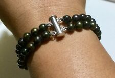 """Black Freshwater Cultivated Pearl Bracelet in Sterling Silver 7.5"""" or 19CM"""