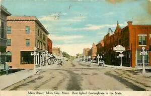 Montana, MT, Miles City, Main Street 1910's Postcard