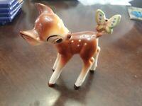 Walt Disney Vintage Porcelain Ceramic Bambi Faline W/Butterfly Statue # J526