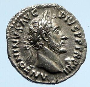ANTONINUS PIUS 148AD Rome Ancient OLD Silver Roman Coin FEMALE & GRAIN i95869