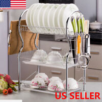 3 Tier Kitchen Dish Cup Drying Rack Drainer Dryer Tray Cutlery Holder Organizer