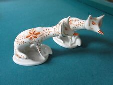 """Hungarian """"Zsolnay Porcelán""""  Art Deco PAIR OF FOXES, SIGNED"""