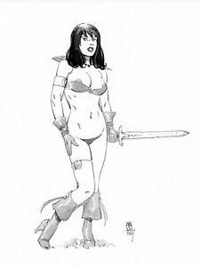 Sexy Warrior Girl  fantasy pin up original  art  by Paradis