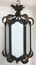 Vintage Spanish Revival Wrought Iron Milk Slag Glass Light Fixture Chandelier