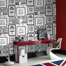 Fresco Great Value Inspire Typography Frames Grey Wallpaper