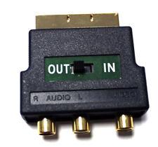 Audio Video Adapter Scart Stecker schwarz an 3x Cinch Buchse IN OUT vergoldet