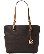 Michael Kors Handbag Jet Set Leather East/West Signature Shoulder Tote Brown NWT