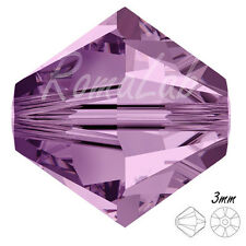 15 CRISTALLI ORIGINALI SWAROVSKI BICONO 3 MM 5301-5328 212 Light Amethyst