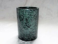 GREEN MARBLE PEN HOLDER, Dark Green Marble Finish Pen Cup Tool Holder 6in Ht