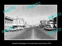 OLD LARGE HISTORIC PHOTO OF GRANDVIEW WASHINGTON, THE MAIN ST & STORES c1970