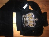 NEW WOMENS VELOUR TRACKSUIT 8/10/12/14 BLACK  CROWN
