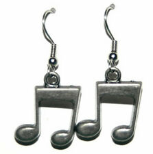 PEWTER MUSIC NOTES DANGLE EARRINGS (D214)