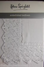 FAITH  WHITE LACE TRIM EMBROIDERED DOUBLE  DUVET SET HELENA SPRINGFIELD DESIGNER