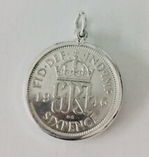 Sterling Silver Lucky Sixpence 6d Simple Charm Pendant With Coin Any Date UK