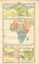 1908 MAP ~ AFRICA ALEXANDRIA CAIRO ENVIRONS SIWA OASIS FAIYUM