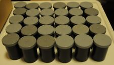 e) 30 x Black Film Canisters, Pots, Tubs with Gray Lids - Geocaching, Loom Bandz