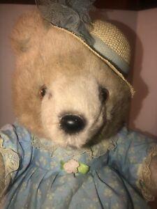 "Applause Bear Lorelei Plush 13"" 1986 Straw Hat Dress Stuffed Animal Teddy"